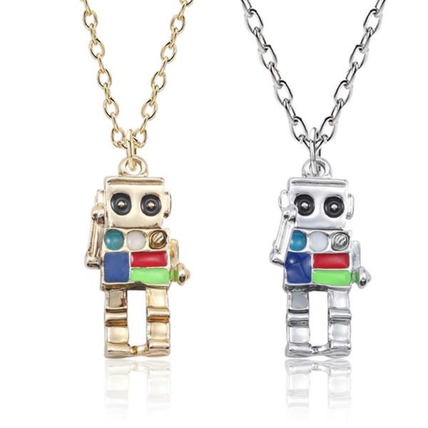 3d robô pingente de colar de homens mulheres esmalte bonito cores alien cadeias de prata de ouro colares moda unisex jóias collares