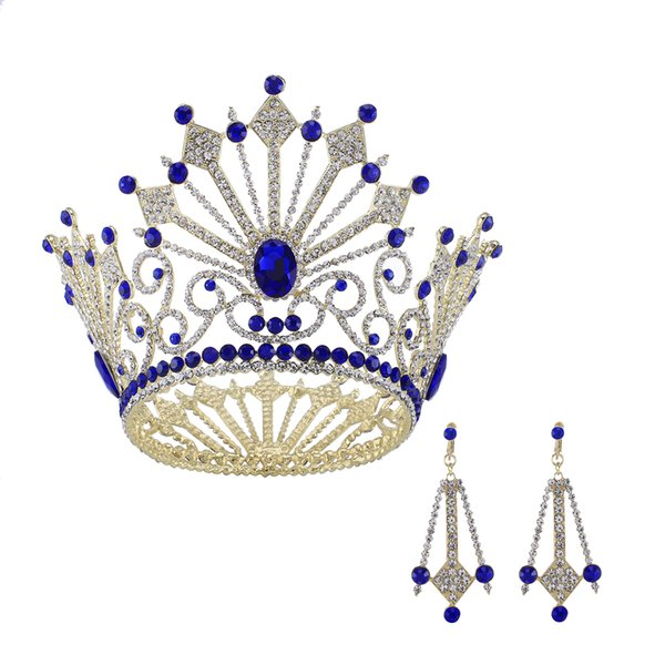 Gold plated Royal Blue Rhinestone Full Round Bridal Pageant Tiaras Prom Wedding Headpiece Hair Crown Dangle Earring Jewelry Set