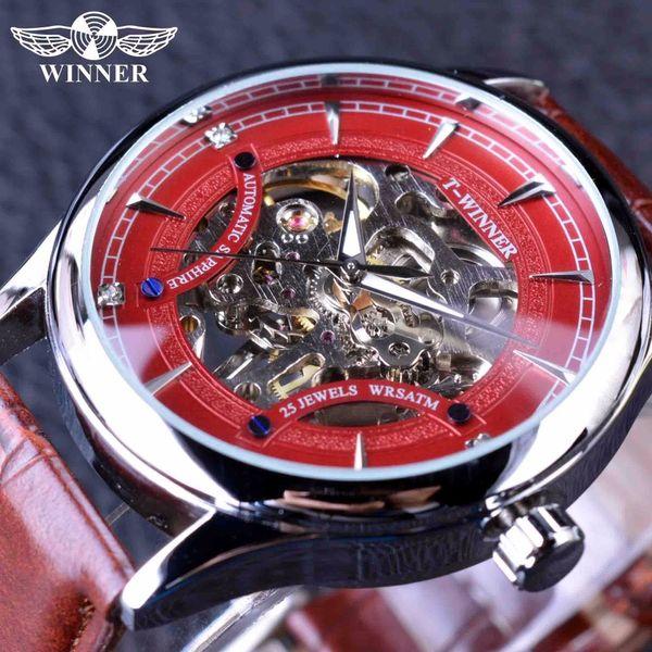 Kazanan Kırmızı Yarış Moda Şık Kırmızı İskelet Spor Tasarım Klasik Şeffaf Erkekler Saatler Üst Marka Lüks Mekanik İzle