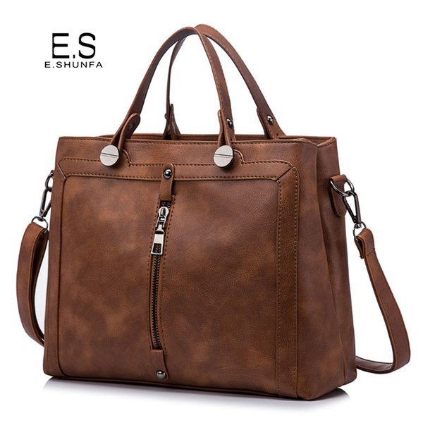 Vintage Fashion Handbag Tote Bag 2018 PU Leather Handbags Women Zipper High Quality Casual Shoulder Bag Black Brown Green Gray