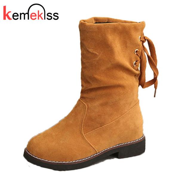 KemeKiss Kadınlar Orta H Çizmeler Yuvarlak Toe Lace Up Kadınlar Orta Buzağı Çizmeler Basit Tatlı Kısa Kadın Ayakkabı Boyutu 35-39