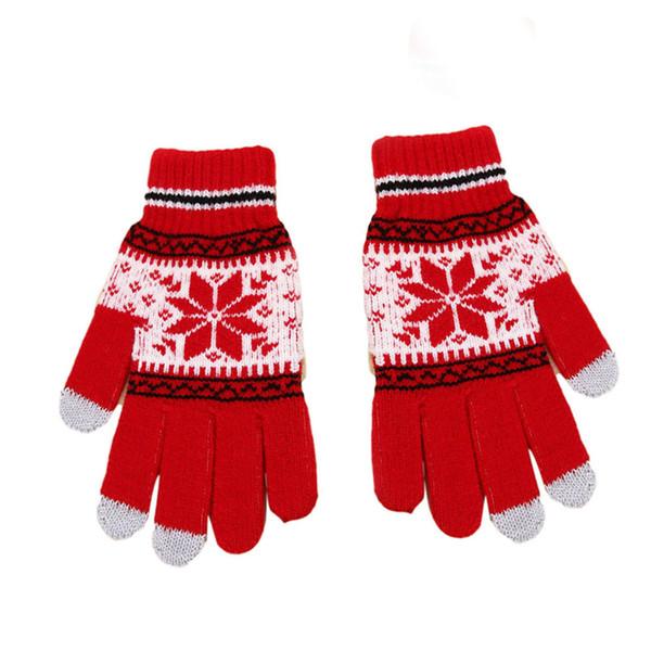 2018 New Knitting Gloves for Women Snow Pattern Thickened Velvet Knitting Gloves Mittens Use Smartphone Screen Gloves D18110806