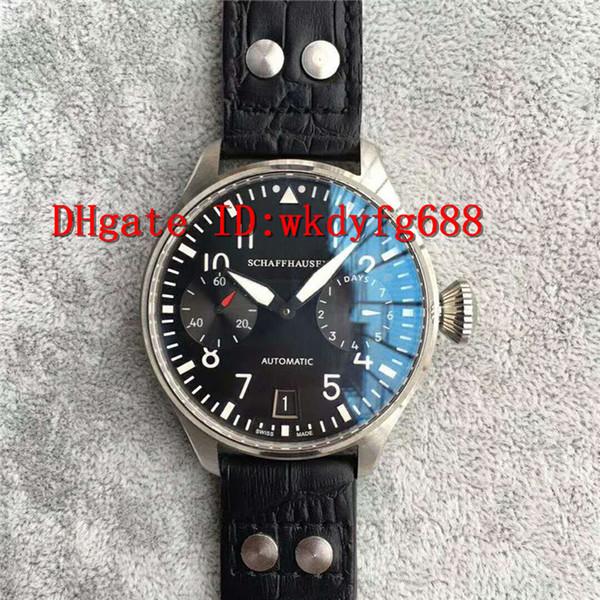 Fábrica ZF Reloj Big Pilot 7750 Automático. Caja de acero inoxidable 316l. Caja de acero inoxidable con gran reserva de energía. Correa de piel de becerro negra. Reloj para hombre.