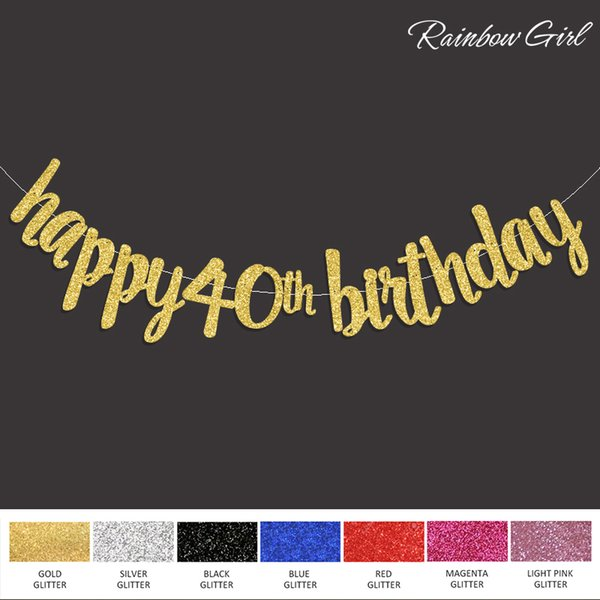 2017 New Happy 40th Birthday Banner Gold Black Silver Glitter Fourty Anniversary 40
