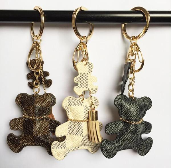 New Fashion PU Leather Bear Key Chain Tassel Key Ring Car Bag Keychain For Women Jewelry Accessories Gift