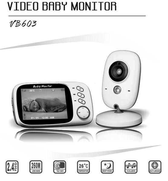 2018 Best 3.2 Inch LCD Display VB603 Night Vision Wireless Baby Monitor Camera 2 Way Audio Temperature Monitor Video Baby Monitor