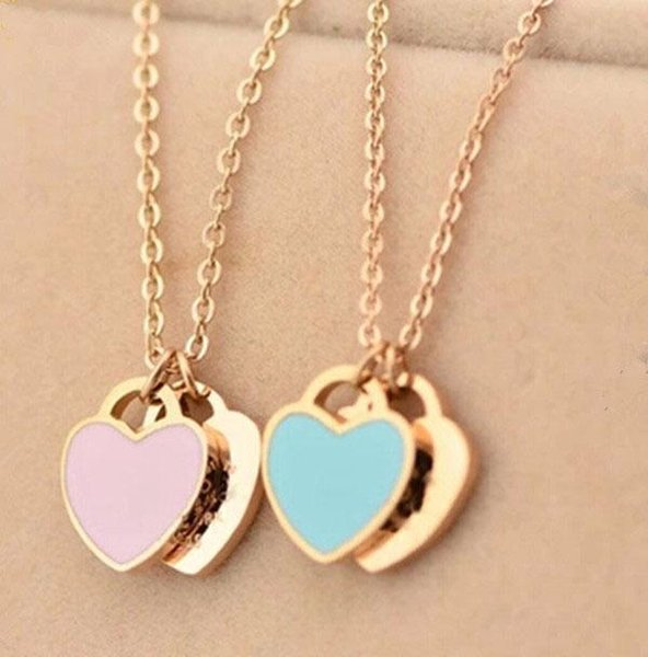 Stainless steel chain necklace with enamel 1.2cm heart for women and mother's day gift jewelry in 45cm Trendy Paired Suspension Pendants