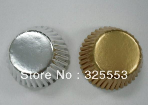 Free shipping assorted 200 pcs elegant mini size gold and sliver foil cupcake liners baking paper cups decorations