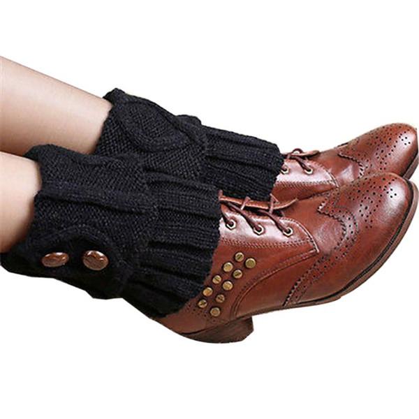 Frauen Mode Winter Beinlinge Short Abschnitt Gestrickte Häkelarbeitknopf Lange Socken Stiefel Manschetten Socken