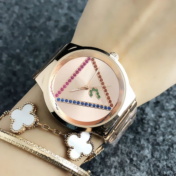 Fashion Brand Wrist Watches for women Colorful crystal triangle style dial steel metal band quartz watch GS13