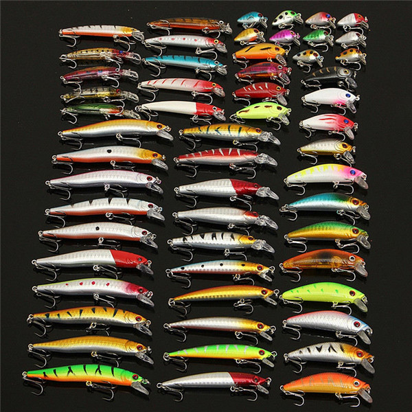 56pc Assorted Mixed Fishing Lure Set Plastic Hard Wobbler Crankbait Swimbait with Treble Hook Minnow Bait Carp Fish Spinners