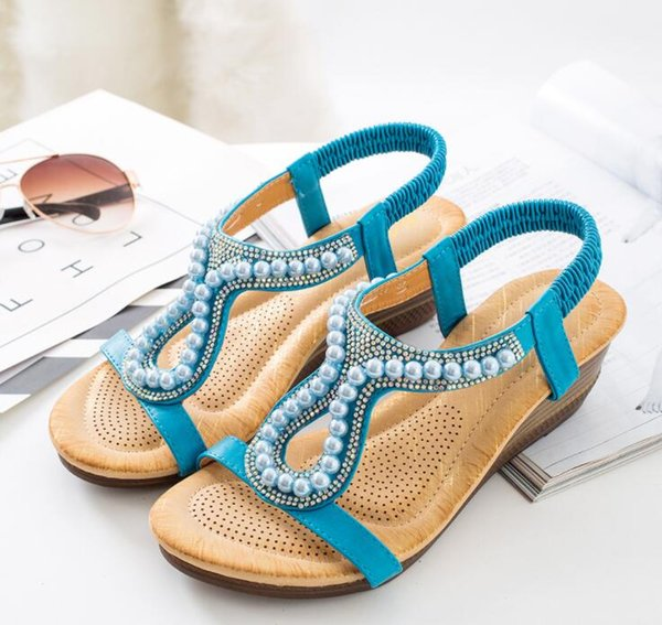 Summer Casual Sandals Shoes Rhinestone Diamond Ladies Sandals Wedge Heel Simple Slip On Beach Shoes EUR Size:36-42