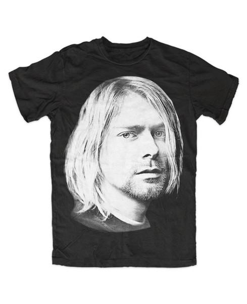 Kurt Cobain Face T-Shirt Schwarz Kult Retro Fun Grunge Musik Rock Quality Print New Summer Style Cotton top tee
