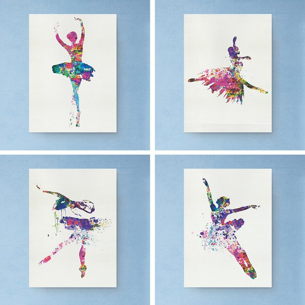 Colorful Ballerina Ballet Dancer Minimalist Art Canvas Poster Unframed Painting Picture Print For Modern Home Living Room Decor