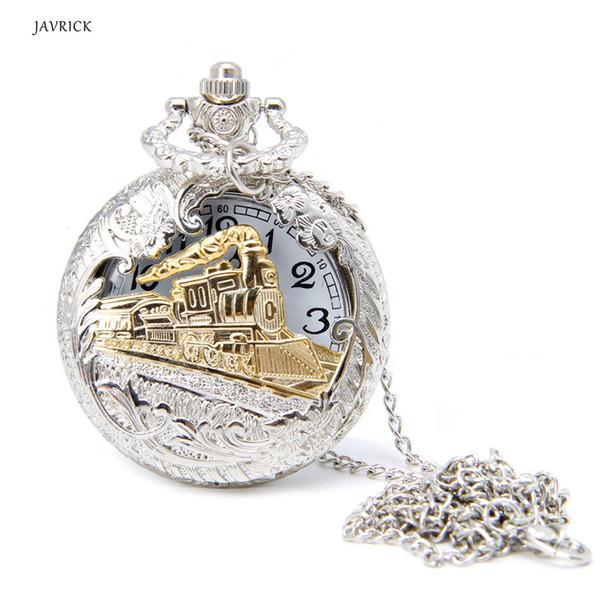 Vintage Silver Charming Gold Train Antique Cadena de Bolsillo Cuarzo Hombres Mujeres Reloj Collar Colgante Reloj regalos