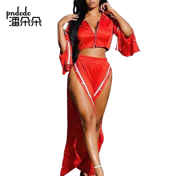 Pndodo 2018 Sexy Style Side Button mujeres pantalones de dos piezas establece la parte superior y la pierna ancha pantalones divididos 2 piezas Femal suelta la ropa