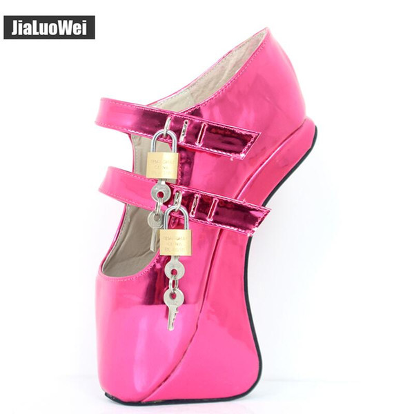 "2018 New Ballet Boots 18CM/7"" Pony Hoof Heels Pumps Fashion Novelty Sexy Fetish Padlocks Ankle Boots Man cosplay dancing shoes"
