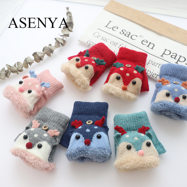 ASENYA cartoon wapiti winter gloves mittens kids with cover for students Chirstmas gifts Coral gleece half-finger gloves