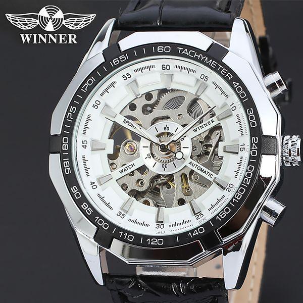 Mens-Marken-Selbstwind-Skeleton automatische Uhr-Mann-T-WINNER-mechanische Armbanduhren Steampunk-Energie-hohles echtes Leder-Taktgeber