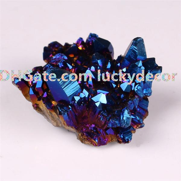 1Pc 35mm-50mm Random Size Irregular Broken Tips Sparkly Blue Titanium Coated Quartz Crystal Cluster Metallic Blue Druzy Raw Stone Figurine