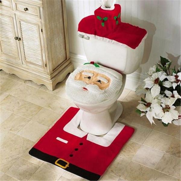 3 adet Fantezi Noel Baba Kilim Koltuk Banyo Set Kontur Kilim Noel Dekorasyon Navidad Noel tuvalet kapağı artı ayak pedi su deposu kapağı