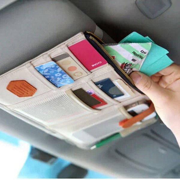 Multifunction Sun Visor Sundries CD Earphone Card Storage Organizer Vehicles Portable Bag Multi Zipper Pocket car Sunshade GGA1423