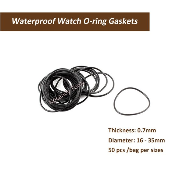 0.7mm thickness O Ring Rubber Seal Washers Waterproof Round Watch Gaskets Diameter 16mm-25mm 50 Pcs per Size