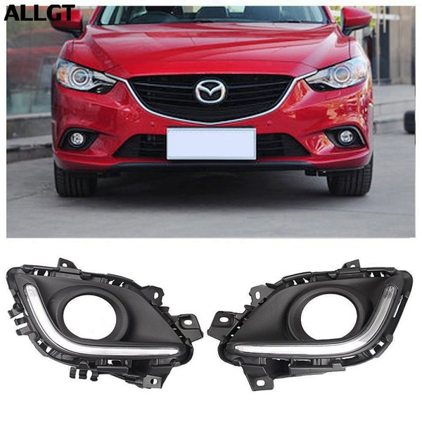 ALLGT Car Fog Lamp DRL LED Daytime Running Light w/ Turn Signal For Mazda 6 Atenza M6 2013 2014
