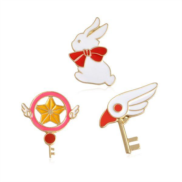Linda estrella palo varita mágica cabeza de pájaro conejo broche para niñas mezclilla chaqueta Pin uniforme insignia moda joyería de animación japonesa nave de la gota