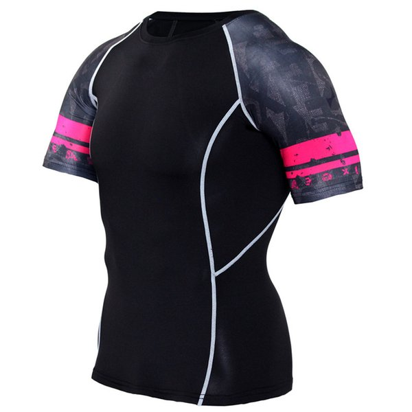 2018 mens running t-shirts fitness gym t-shirts sport and leisure wicking training compression breathable quick dry sports t-shirt dh040
