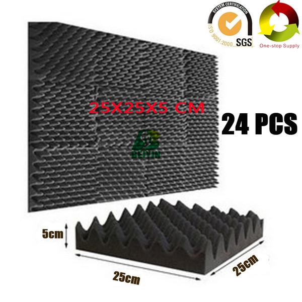 "best selling 24Pack Fireproof Egg Crate Acoustic Foam Board Studio Sound Treatment Soundproof Panels Pro Audio Equipment Sound Insulation Sponge 10X10X2"""