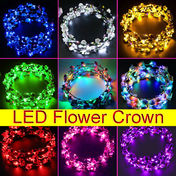 top popular LED Lighting Wreaths Women Flower Hair Crown Luminous Headbands Headwear for Wedding Kids Night Market Toys Glowing Garland Head Ornaments 2021