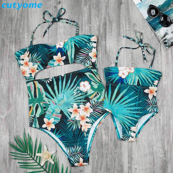 Family Matching Mother And Daughter Swimwear One-pieces Hollow Out Princess Kids Mommy And Me Beach Swimsuits Outfits Clothing