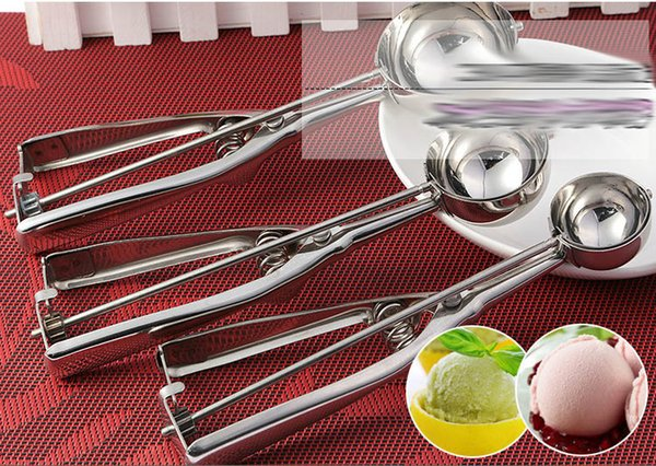 Stainless Steel Ice Cream Scoops Stacks Fruit Mash Spoon Diameter 4/5/6cm Cookies Spoon Ball Maker Kitchen Bar Dishers Tool JHH7-1394