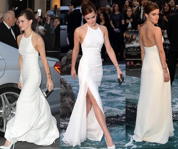 Emma Watson Celebrity Evening Dresses Simple Halter Floor Length Chiffon Backless Prom Formal Gowns side split red carpet dresses for girls