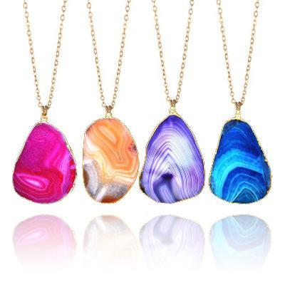 Multi Color Pedra Natural Pingente de Colar Unisex Irregular Cristal Colar de Corrente de Ouro Texturizado Verão Praia Jóias