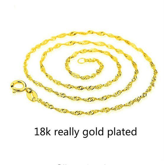 Golden Water-wave Chain Necklace for Women Men Jewelry Necklaces & Pendants Charms Jewellery Choker Colar Kolye Gift Do Not Fade#S