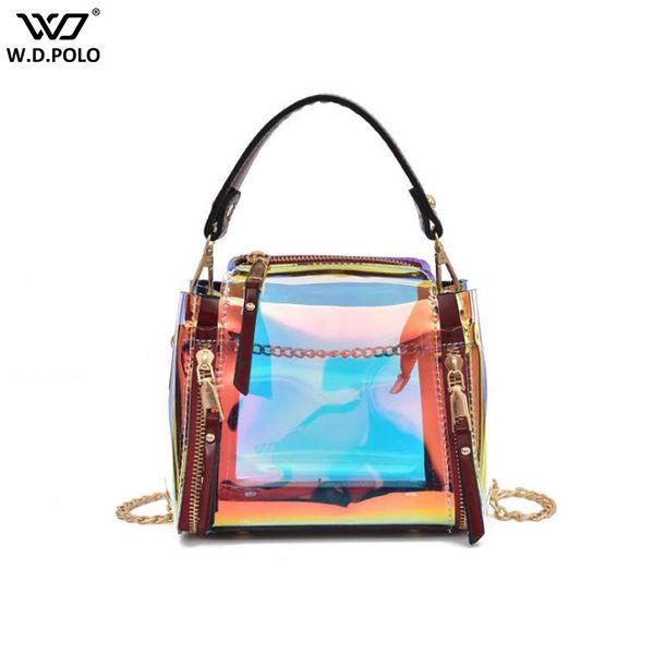WDPOLO New Women Transparent PVC Handbags Trendy Small Size Lady Shoulder Bags Fashion Beach Bags For Female C668