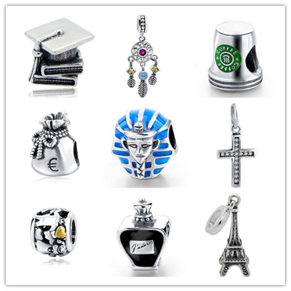Fit Authentic charms silver 925 Original Antique Eiffel Tower Coffee cup Monedero Cruz botella de Perfume Pulsera Beads Regalo