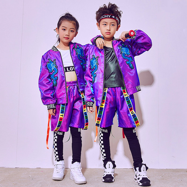 top popular 2018 Hip Hop Dance Costume Kids Boys Jazz Costumes Girls Street Dance Clothing Children'S Day Performance Wear Stage Suit DN1793 2019