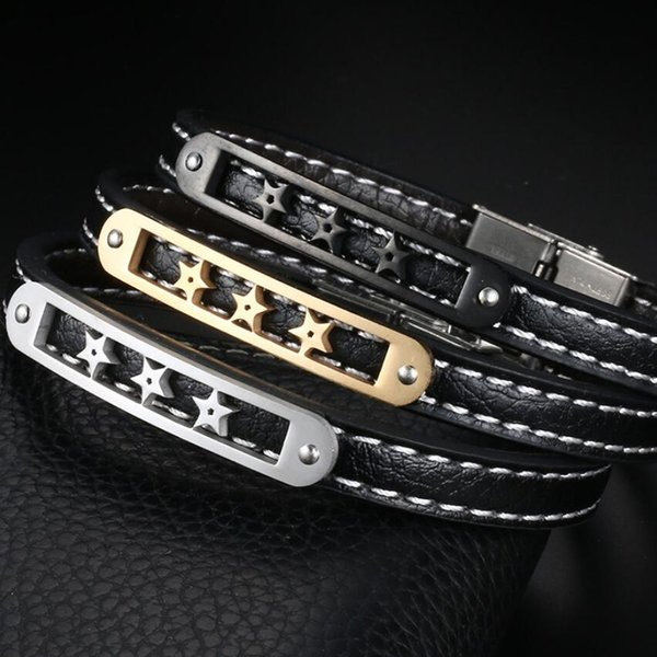 luxury jewelry designer PU leather bracelets for men stainless steel stars bracelets hot fashion free of shipping