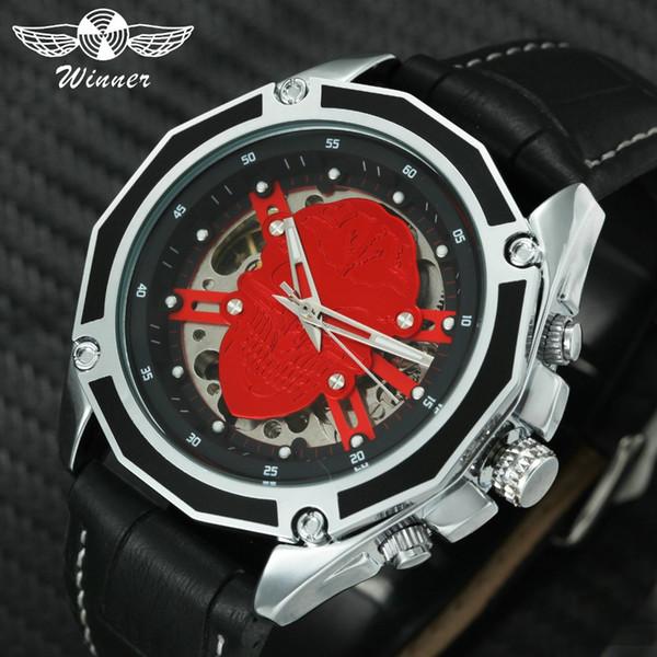 KAZANAN Moda Kırmızı Kafatası Mekanik Erkekler Saatler Üst Marka Lüks Otomatik Mekanik Saatı Deri Kayış Cadılar Bayramı Saat