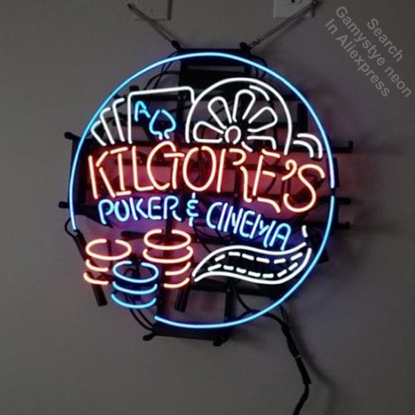 Poker Cinema Neon Signboard Neon Light Sign Real Glass Tube Handcrafted Store Business Display lamp personalized custom made