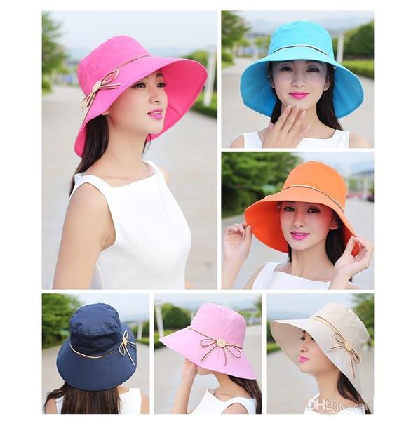 Hot sale Fashion Of The Sun's Ultraviolet Folding Bucket Hat Bowk Not Wide Brim Floppy Hat Summer Women Beach Hat M028