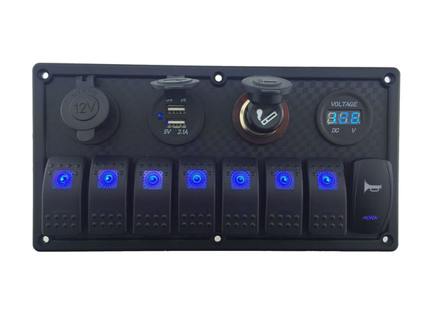 12V-24V DC 8 gang Waterproof marine blue led switch panel with double led power socket Cigarette Lighter horn switch and 4.2A USB voltmeter