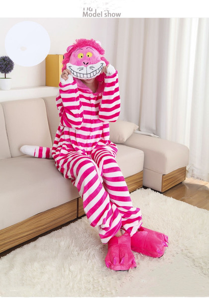 Hot Cute Interesting Cheshire Cat Unisex Adult Pajamas Anime Cosplay Costume Animal Onesie Sleepwear