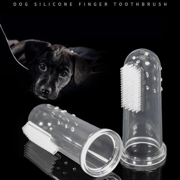 Transparente Silikon Weiche Haustiere Hund Zahnbürste Katze Hund Oral Reiniger Welpen Zahnbürste Finger Zahnbürste Schnelles Verschiffen