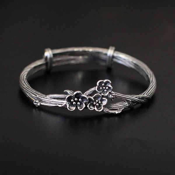 High quality female jewelry 925 Sterling silver fine carving Bracelet lady plum flowers Bohemian retro fashion girls bangles