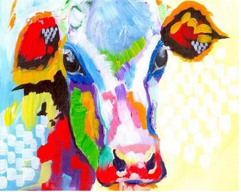 Color cow painting Full Square//Round Drill 5D DIY Diamond Painting