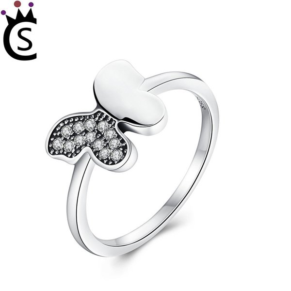 Authentic 925 sterling silver ring beautiful butterfly rings With zircon 925 sterling silver rings luxury jewelry fit pandora
